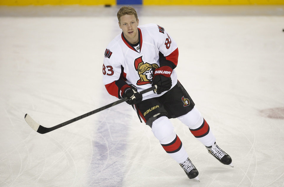Photo - Ottawa Senators' Ales Hemsky, from the Czech Republic, warms up for an NHL hockey game against the Calgary Flames on Wednesday, March 5, 2014, in Calgary, Alberta. (AP Photo/The Canadian Press, Jeff McIntosh)