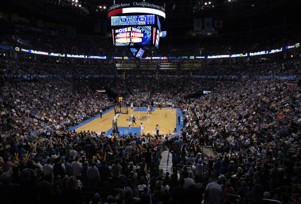 Photo - Thunder fans fill the arena as the Oklahoma City Thunder defeat the Portland Trail Blazers 106-92 in NBA basketball at the Chesapeake Energy Arena in Oklahoma City, on Friday, Nov. 2, 2012.  Photo by Steve Sisney, The Oklahoman