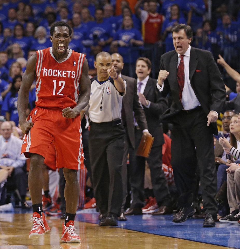 Houston's Patrick Beverley (12) reacts after a Thunder turnover during Game 2 in the first round of the NBA playoffs between the Oklahoma City Thunder and the Houston Rockets at Chesapeake Energy Arena in Oklahoma City, Wednesday, April 24, 2013. Photo by Chris Landsberger, The Oklahoman