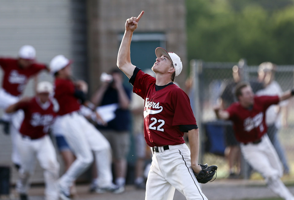 Photo - Tuttle's Zac Wall celebrates Tuttle's win over Catoosa during the class 4A baseball game between Catossa and Tuttle at Edmond Santa Fe High School in Edmond, Okla., Friday, May 16, 2014. Photo by Sarah Phipps, The Oklahoman