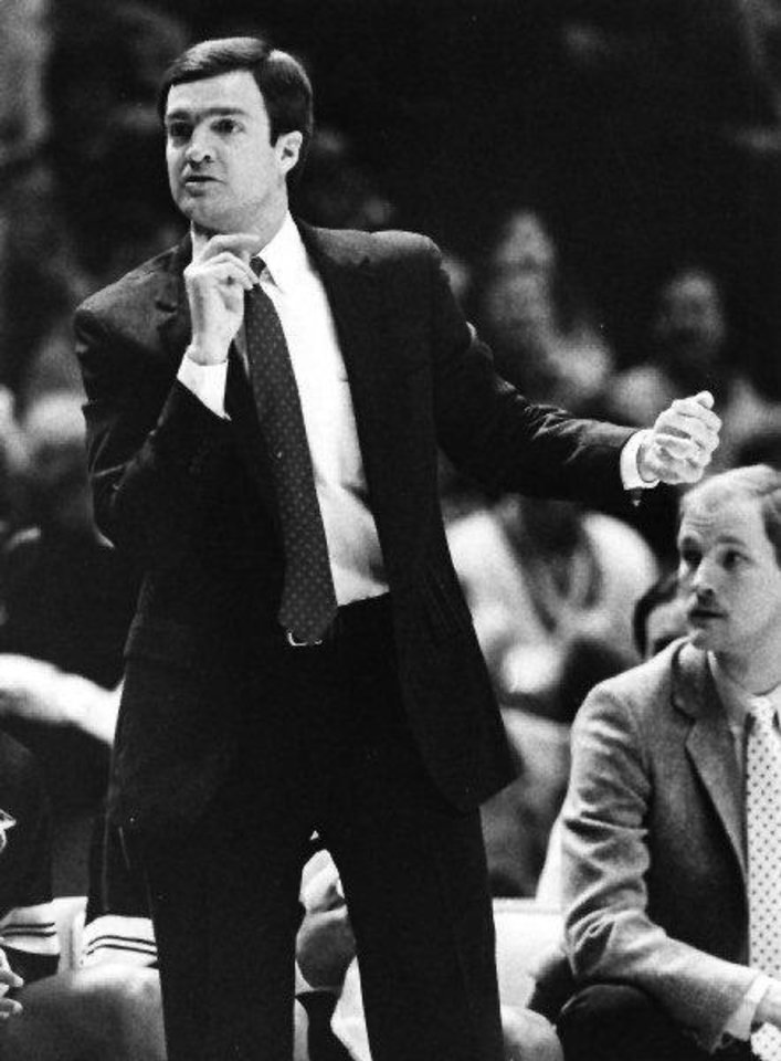 Lon Kruger, Kansas State University college basketball coach (Original photo taken 2/22/1989, published 1/30/1990 in The Oklahoman) DOUG HOKE - THE OKLAHOMAN
