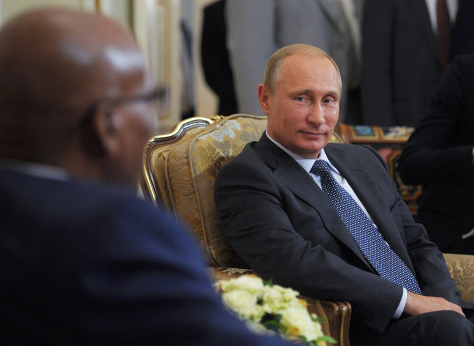 Photo - Russian President Vladimir Putin, right, meets with South African President Jacob Zuma in the Novo-Ogaryovo residence outside Moscow, Russia, Thursday, Aug. 28, 2014. (AP Photo/RIA-Novosti, Alexei Druzhinin, Presidential Press Service)