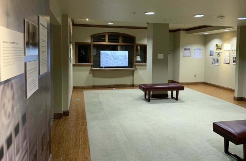Photo -  The Tulsa Race Massacre Prayer Room at First Baptist Church of Tulsa includes images and information about the 1921 attack on Black Wall Street in a museum exhibit format. [Photo provided]