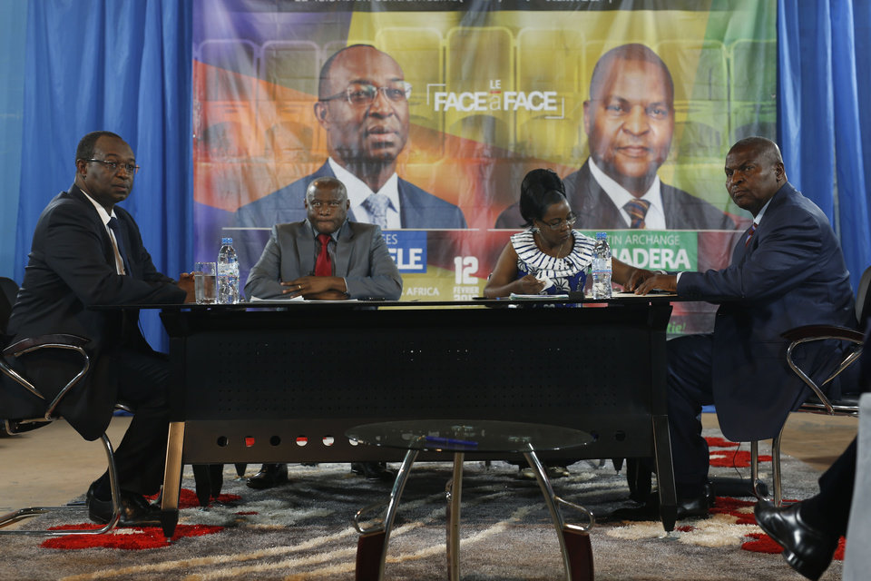 Presidential candidates Faustin Archange Touadera, right, and Anicet ...