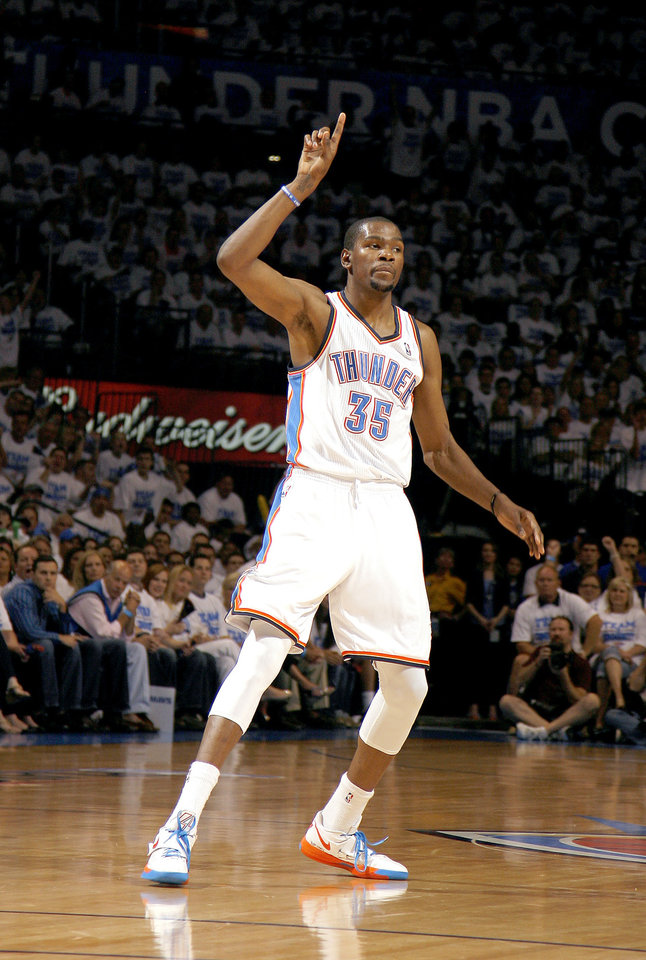 Oklahoma City's Kevin Durant (35) celebrates a three-point shot during Game 2 of the first round in the NBA basketball playoffs between the Oklahoma City Thunder and the Dallas Mavericks at Chesapeake Energy Arena in Oklahoma City, Monday, April 30, 2012. Photo by Sarah Phipps, The Oklahoman