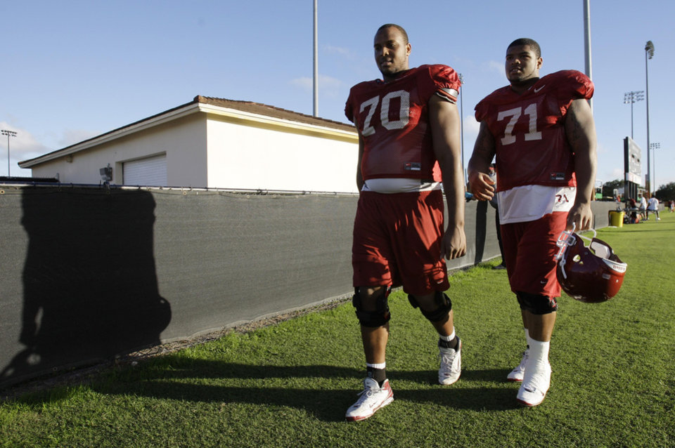 Photo - UNIVERSITY OF OKLAHOMA / OU / BOWL CHAMPIONSHIP SERIES / BOWL GAME / COLLEGE FOOTBALL / BCS NATIONAL CHAMPIONSHIP GAME: Oklahoma offensive linemen Cory Brandon (70) and Trent Williams (71) walk off the field after football practice  at Barry University in Miami Shores, Fla, Tuesday,  Jan. 6, 2009. Oklahoma will play Florida in the BCS Championship NCAA college football game on Thursday, Jan. 8.  (AP Photo/ Lynne Sladky)  ORG XMIT: FLLS105