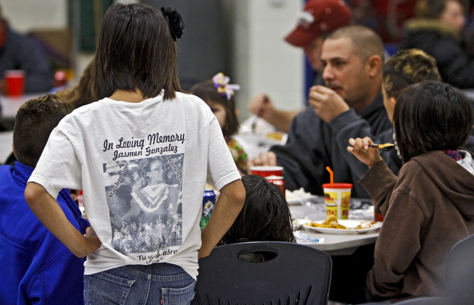 Supporters gather for dinner during a benefit dinner for the family of homicide victim Jasmen Gonzalez at John Glenn Elementary School on Wednesday, Nov. 16, 2011. in Oklahoma City, Okla..  Photo by Chris Landsberger, The Oklahoman