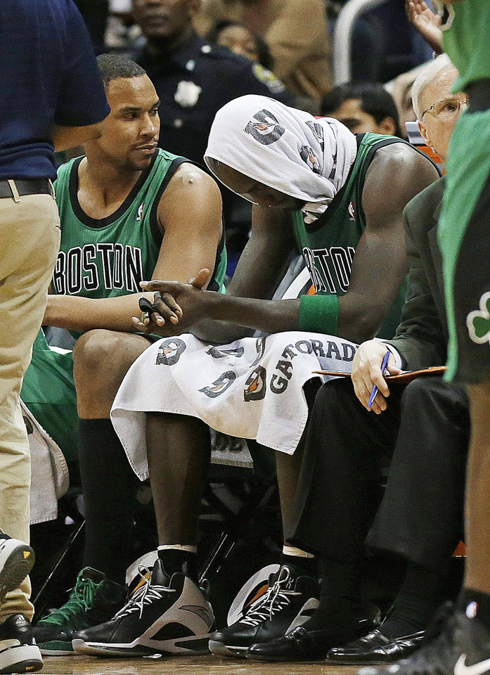 Boston Celtics forward Kevin Garnett sits on the bench after fouling out in the in the second overtime of an NBA basketball game against the Atlanta Hawks, Friday, Jan. 25, 2013, in Atlanta. Atlanta won 123-111. (AP Photo/John Bazemore)