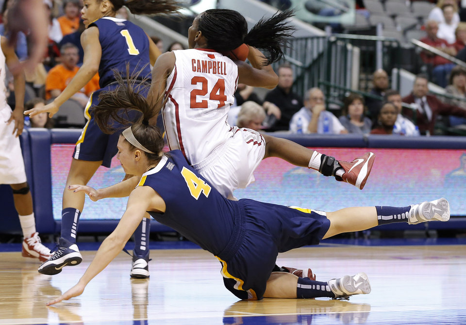 Oklahoma's Sharane Campbell (24) falls on West Virginia's Brooke Hampton (4) during the Big 12 tournament women's college basketball game between the University of Oklahoma and West Virginia at American Airlines Arena in Dallas, Saturday, March 9, 2012.  Photo by Bryan Terry, The Oklahoman