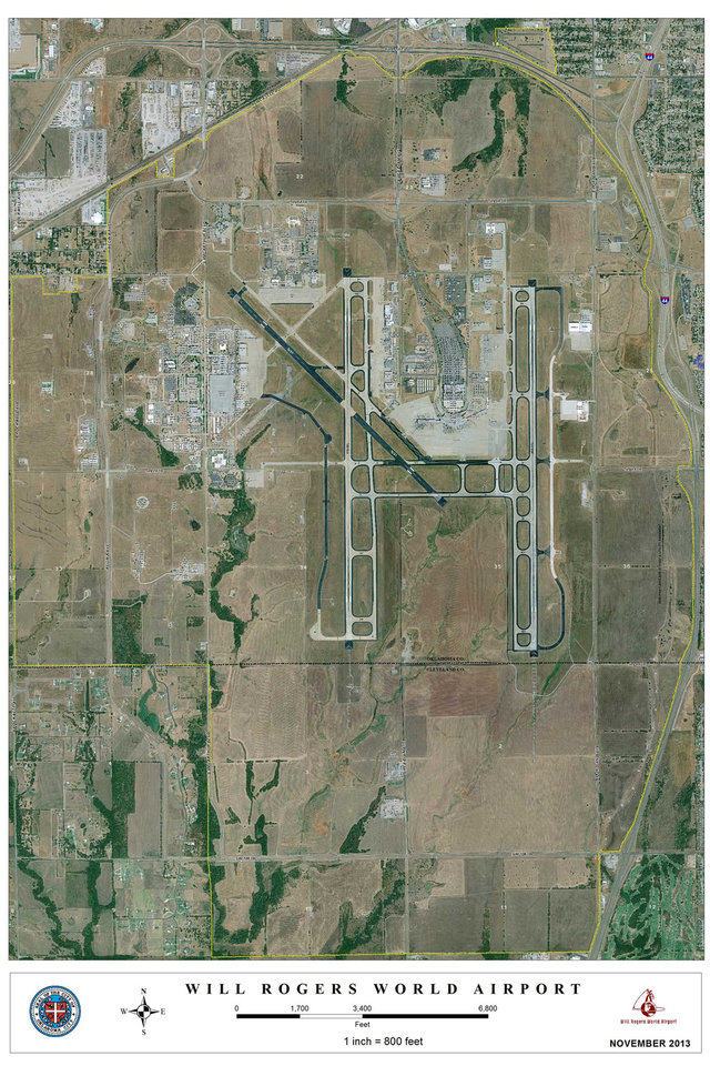 Photo -   aerial view of Will Rogers World Airport in Oklahoma City     Interstate 44 is shown at the far right, running north and south. Airport Road, or State Highway 152, is shown running east and west across the top, and SW 104 runs east and west across the bottom.  Photo provided