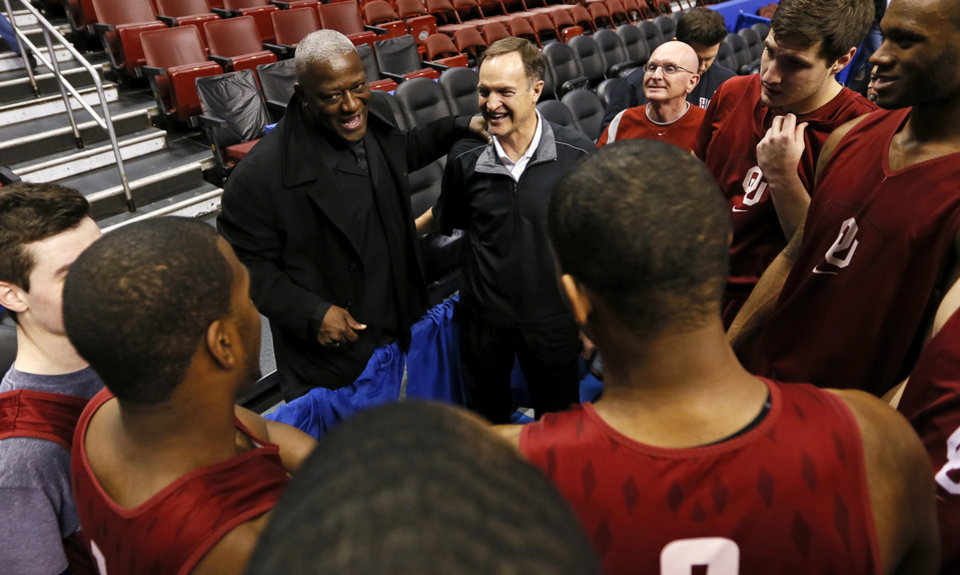 Former college player and coach Dereck Whittenburg, top left, speaks to coach Lon Kruger and the Oklahoma Sooners  during the practice and press conference day for the second round of the NCAA men's college basketball tournament at the Wells Fargo Center in Philadelphia, Thursday, March 21, 2013. Whittenburg played on the 1983 N.C. State national championship team. OU will play San Diego State in the second round on Friday. Photo by Nate Billings, The Oklahoman