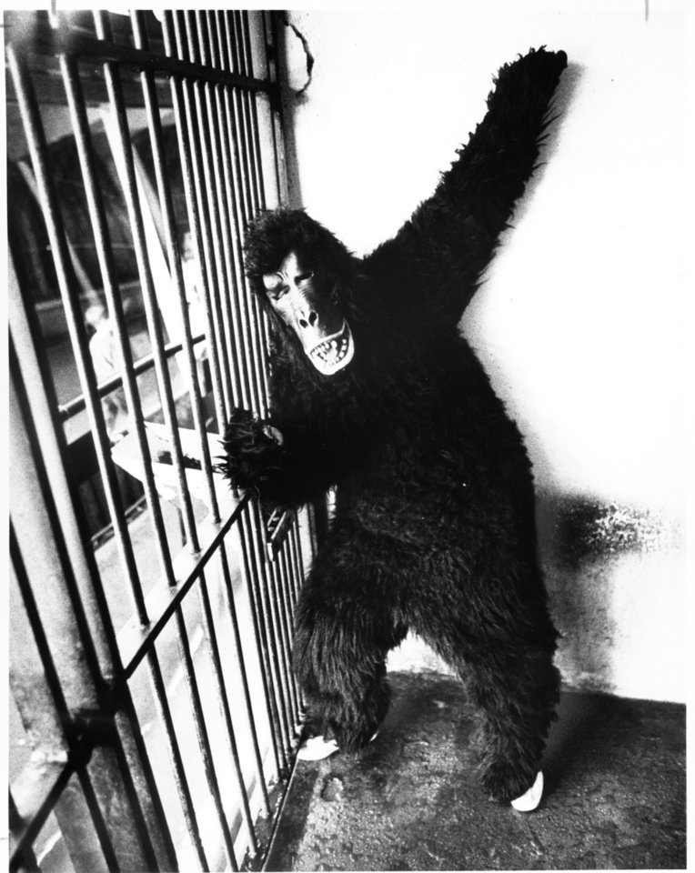 Ann DeFrange monkeys around at the zoo. 5-27-1984