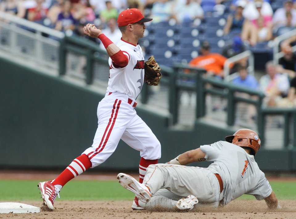 Photo - Louisville second baseman Zach Lucas (11) throws to first after forcing out Texas' Tres Barrera in the fifth inning of an NCAA baseball College World Series elimination game in Omaha, Neb., Monday, June 16, 2014. (AP Photo/Eric Francis)