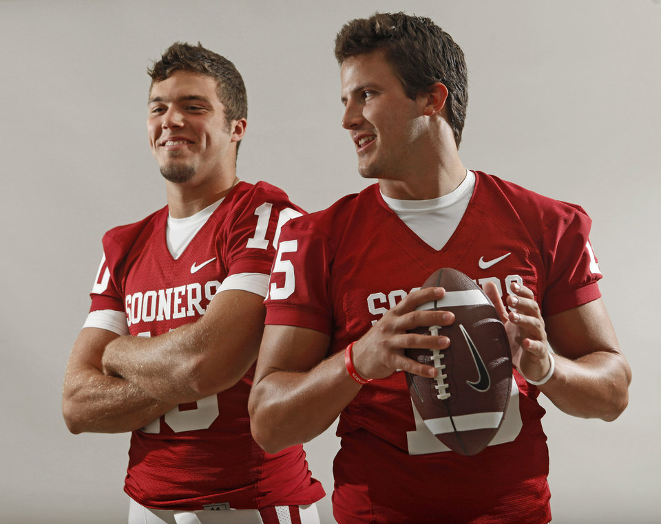 Photo - The University of Oklahoma's Blake Bell, left, and Drew Allen pose for a photo during OU's football media day in Norman, Okla., Saturday August 6, 2011. Photo by Bryan Terry, The Oklahoman