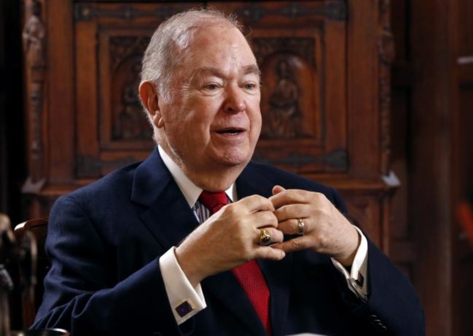 Photo -  Former University of Oklahoma President David Boren speaks in his office in March 2018. [Oklahoman Archive Photo]