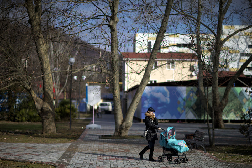 Photo - A woman pushes a stroller through the 50 Years of Victory in the Great Patriotic War Park, the designated Olympic protest area for the 2014 Winter Olympics, in the Khosta district, Saturday, Feb. 1, 2014, in Sochi, Russia. (AP Photo/David Goldman)