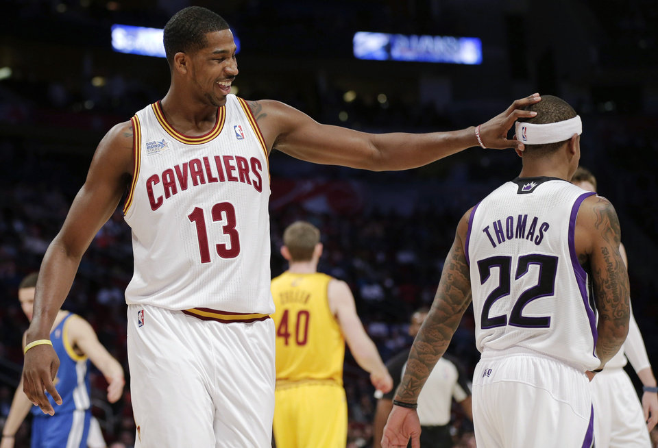 Team Chuck\'s Tristan Thompson of the Cleveland Cavaliers, left, celebrates with Isaiah Thomas against during the first half against Team Shaq in the Rising Stars Challenge basketball game at NBA All-Star Weekend, Friday, Feb. 15, 2013, in Houston. (AP Photo/Eric Gay)