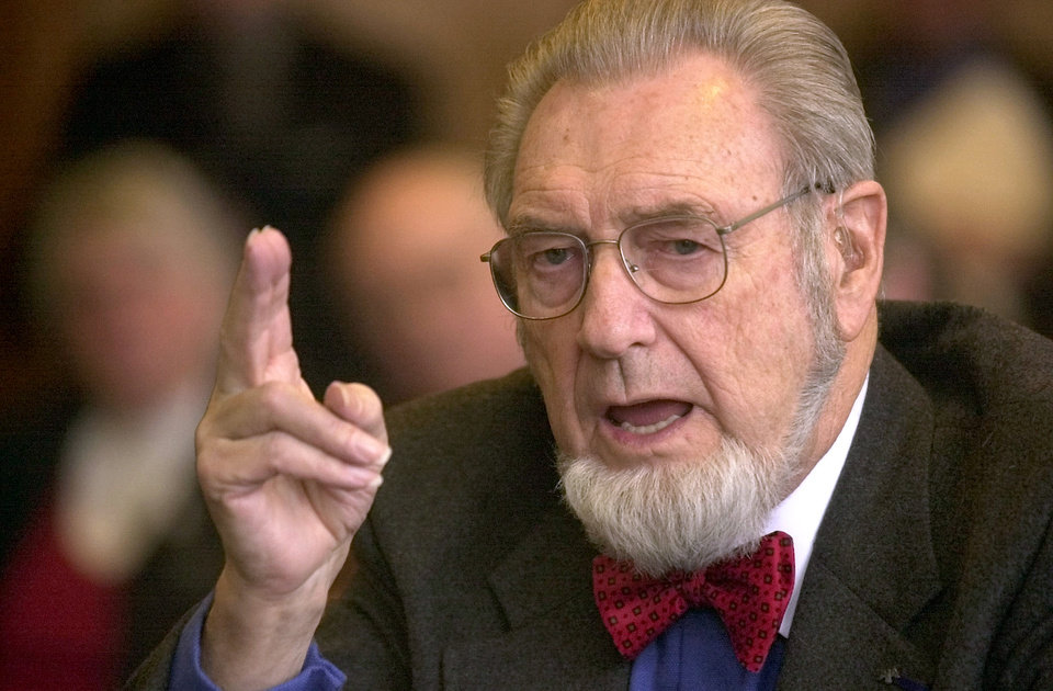 FILE - In this Feb. 12, 2002 file photo, former U.S. Surgeon General, Dr. C. Everett Koop testifies in Concord, N.H. Koop, who raised the profile of the surgeon general by riveting America\'s attention on the then-emerging disease known as AIDS and by railing against smoking, has died in New Hampshire at age 96. (AP Photo/Jim Cole, File)