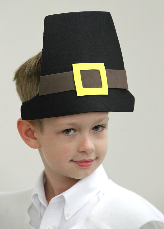 First-grader Austin Pistocco is dressed like a pilgrim for a Thanksgiving pageant.