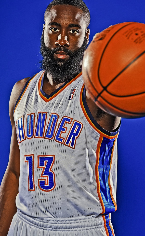 James Harden during Thunder Media Day photos on Monday, Oct. 1, 2012, in Oklahoma City, Oklahoma.  Photo by Chris Landsberger, The Oklahoman