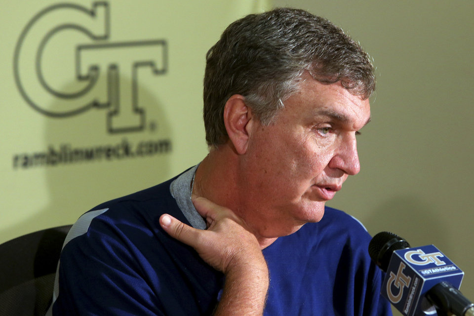 Photo -   Georgia Tech head coach Paul Johnson speaks during an NCAA college football news conference after announcing that defensive coordinator Al Groh has been fired, Monday, Oct. 8, 2012, in Atlanta. The move comes two days after Georgia Tech (2-4, 1-3 Atlantic Coast Conference) lost 47-31 to Clemson. The previous week, Georgia Tech gave up 49 points in an embarrassing loss to Middle Tennessee. (AP Photo/Atlanta Journal-Constitution, Curtis Compton) MARIETTA DAILY OUT; GWINNETT DAILY POST OUT; LOCAL TV OUT; WXIA-TV OUT; WGCL-TV OUT