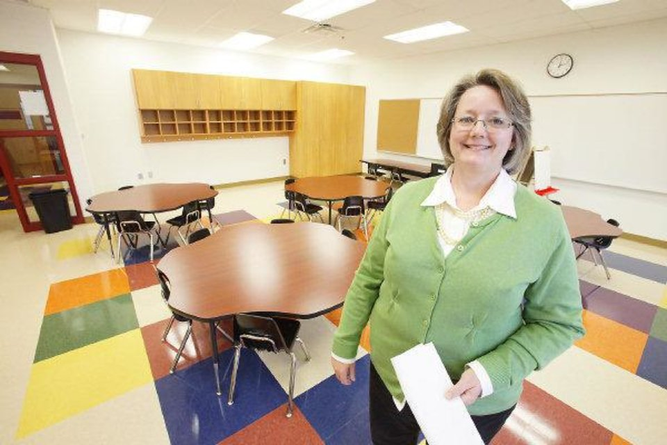 Tour of Cesar Chavez Elementary School witch will open in August, Friday, April 22, 2011. Principal Laura Morris in one of the Pre-K classrooms. Photo by David McDaniel, The Oklahoman  ORG XMIT: KOD