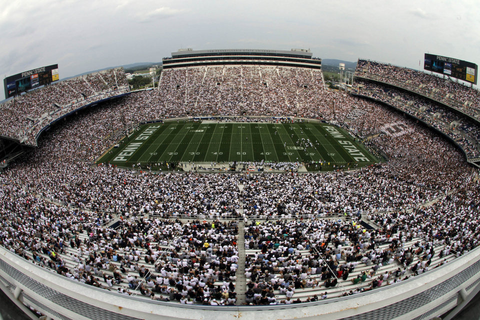 Photo -   In this overhead view taken with a fisheye lens, Penn State plays Ohio during the third quarter of an NCAA college football game at Beaver Stadium in State College, Pa., Saturday, Sept. 1, 2012. (AP Photo/Gene J. Puskar)
