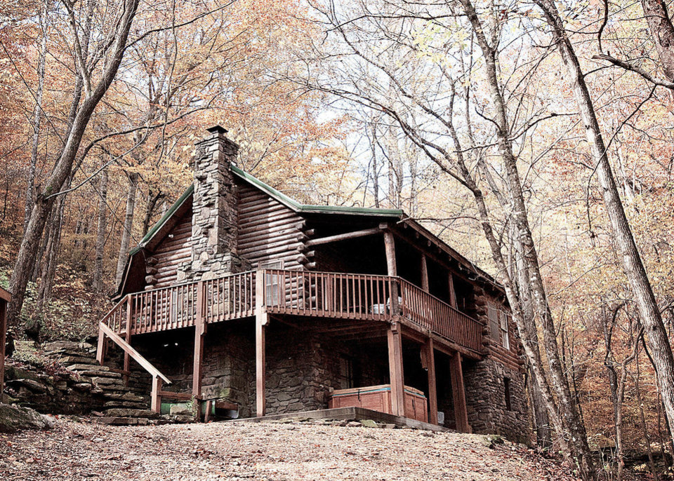 A cabin with hot tub, situated high in the Ozark Mountains, can be rented at the Buffalo Outdoor Center in Ponca, Ark. Photo by Rhonda Mills, Buffalo Outdoor Center. <strong>PROVIDED</strong>