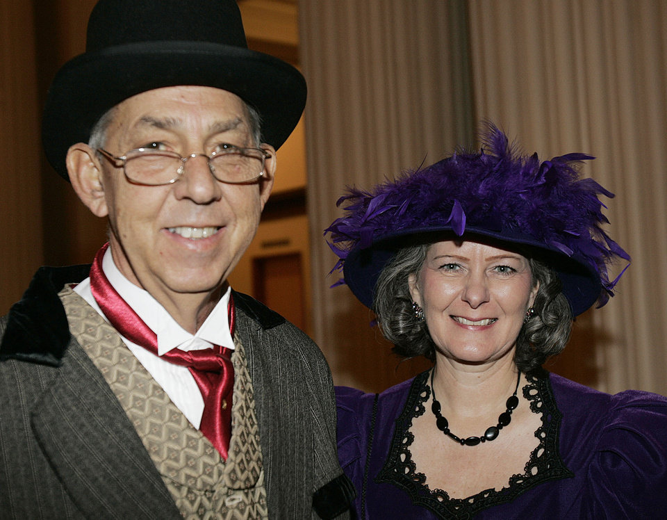 Photo - Ron and Jacque Edwards of Guthrie, attend the Oklahoma Centennial Statehood Inaugural Ball, Saturday, Nov. 17, 2007, at the Guthrie Scottish Rite Masonic Center, in Guthrie, Okla. By Bill Waugh, The Oklahoman