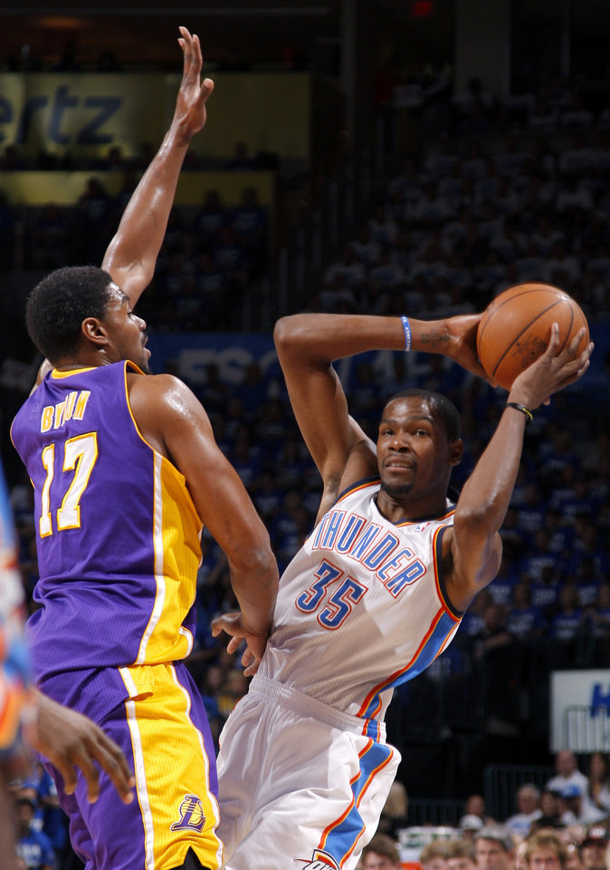 during Game 2 in the second round of the NBA playoffs between the Oklahoma City Thunder and L.A. Lakers at Chesapeake Energy Arena in Oklahoma City, Wednesday, May 16, 2012. Photo by Bryan Terry, The Oklahoman