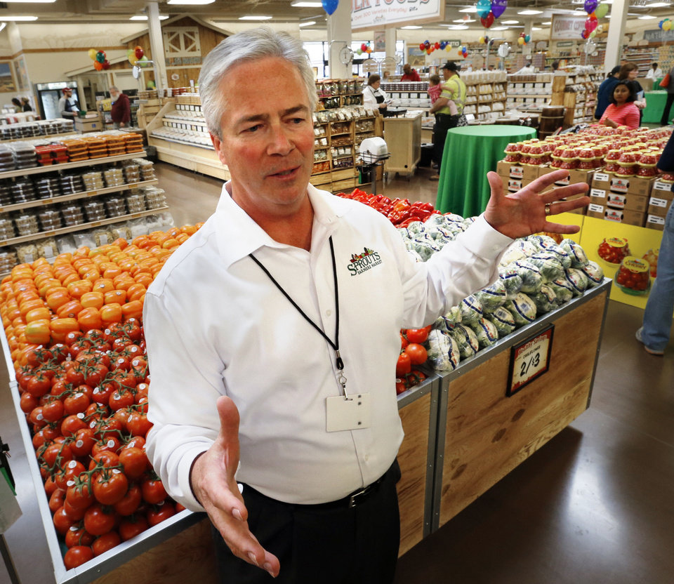 Steve Black, chief information and marketing officer, talks about the new Sprouts Farmers Market that opened Wednesday in Norman. PHOTO BY STEVE SISNEY, THE OKLAHOMAN <strong>STEVE SISNEY</strong>