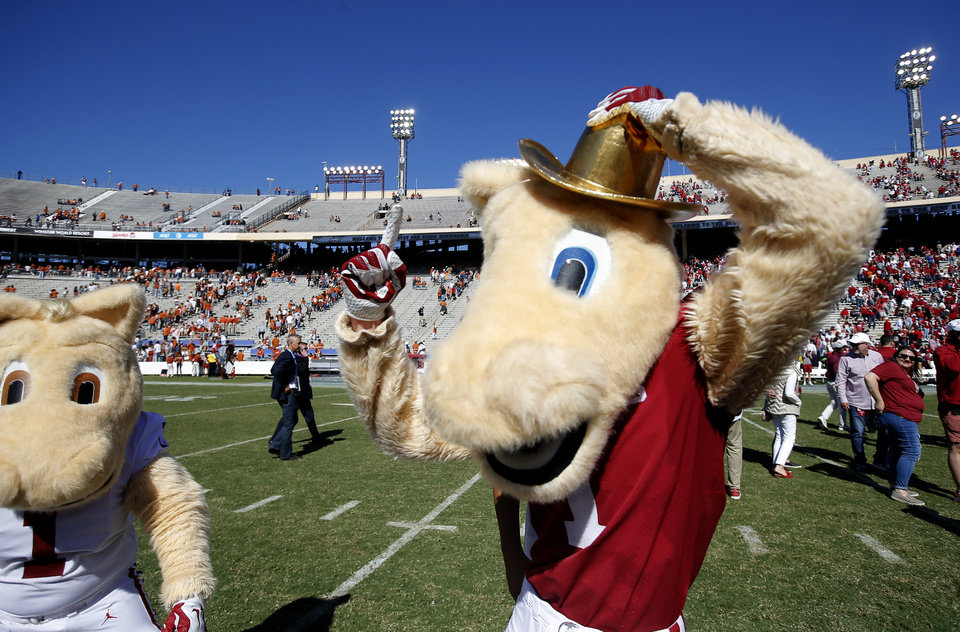 Photo - The Oklahoma mascot wears theGolden Hat Trophy following the Red River Showdown college football game between the University of Oklahoma Sooners (OU) and the Texas Longhorns (UT) at Cotton Bowl Stadium in Dallas, Saturday, Oct. 12, 2019. OU won 34-27. [Sarah Phipps/The Oklahoman]