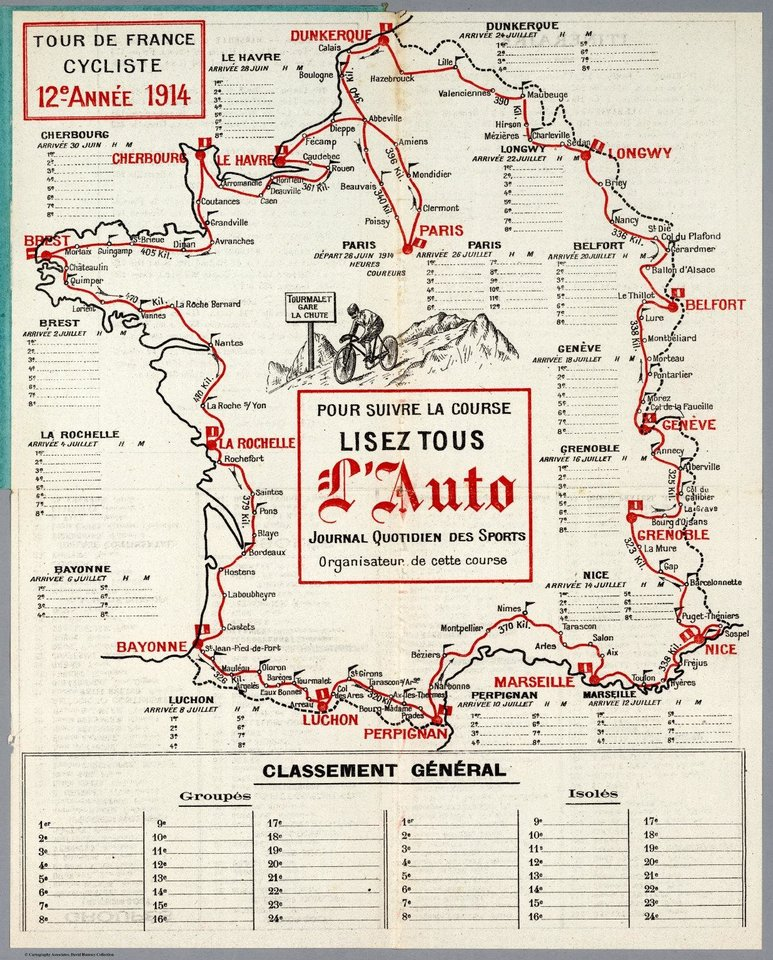 Photo - In this 1914 illustration provided by the WielerMuseum Roeselare, an illustrated map of the Tour de France that took place in 1914. On June 28, 1914, 145 riders lined up to start the 12th running of the Tour de France, including a record seven previous Tour champions. That same day, a continent away, a political assassination took place that would have consequences unimaginable to the riders as they pedaled across Normandy to Le Havre. (AP Photo/Wielermuseum)