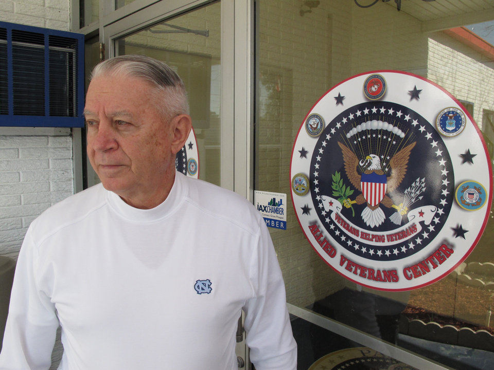 Len Loving, chief executive of the Allied Veterans Center, stands at the front door to the shelter for homeless veterans in Jacksonville, Fla., on Thursday, March 14, 2013. Loving says he may have to close the center by the end of June for lack of funding. The shelter gets almost all of its money from Allied Veterans of the World, a Florida organization that\'s had its top officers arrested and assets seized as part of an illegal gambling investigation. (AP Photo/Russ Bynum)