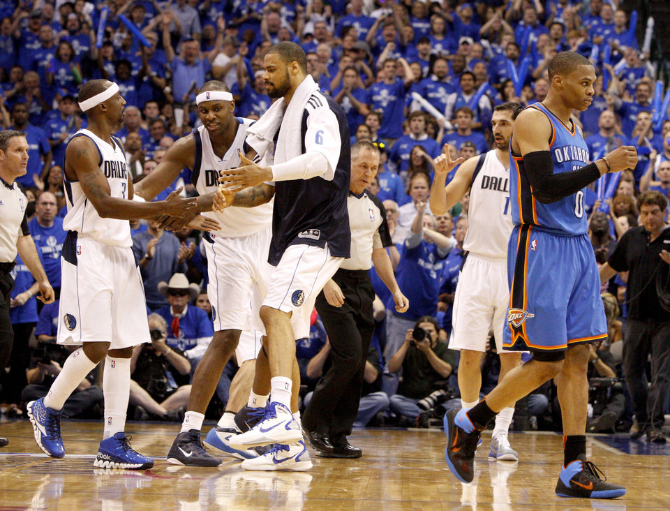 Oklahoma City\'s Russell Westbrook (0) walks away after getting a technical foul during game 5 of the Western Conference Finals in the NBA basketball playoffs between the Dallas Mavericks and the Oklahoma City Thunder at American Airlines Center in Dallas, Wednesday, May 25, 2011. Photo by Bryan Terry, The Oklahoman