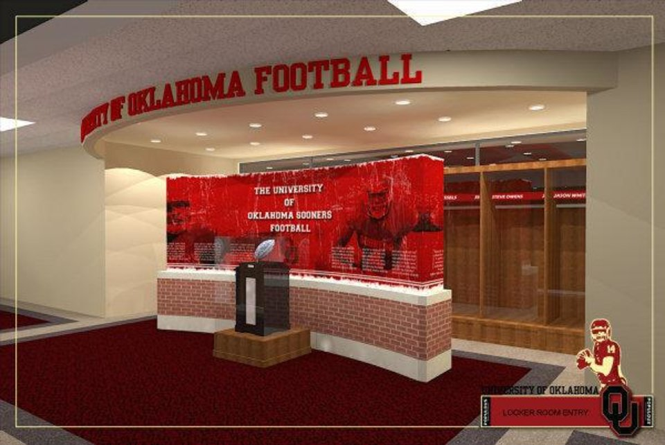 Photo - Artist rendering of entrance to the new locker room that is part of Phase IV of the renovation of Gaylord Family - Oklahoma Memorial Stadium. PHOTO PROVIDED