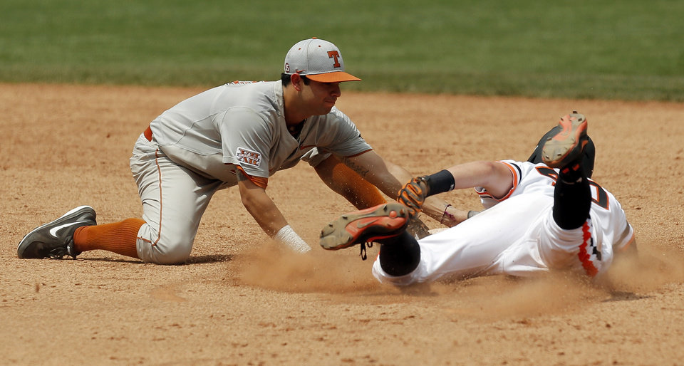 Photo - UT's CJ Hinojosa (9) tags out OSU's Craig McConaughy (40) at second base in the eighth inning during a college baseball game between Texas and Oklahoma State in the Big 12 baseball tournament at the Chickasaw Bricktown Ballpark in Oklahoma City,  Saturday, May 24, 2014. OSU won 3-1 to force an elimination game. Photo by Nate Billings, The Oklahoman