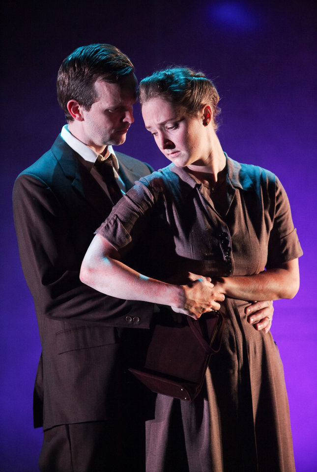 Shown in a publicity photo released by Lincoln Center Theater are, Dashiell Eaves, left, and Amanda Quaid, in a scene from the LCT3 production of