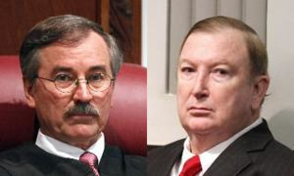 Photo - Left: Judge Ray Elliott conducts a hearing on a request for him to step down from the trial of pharmacist Jerome Ersland at the Oklahoma County Courthouse in Oklahoma City, OK, Monday, Dec. 6, 2010. By Paul Hellstern, The Oklahoman. Right: Pharmacist Jerome Ersland sits in the courtroom of Judge Ray Elliott at the Oklahoma County Courthouse in Oklahoma City, OK, as the judge conducts a hearing on a request for him to step down from his trial, Monday, Dec. 6, 2010. By Paul Hellstern, The Oklahoman.