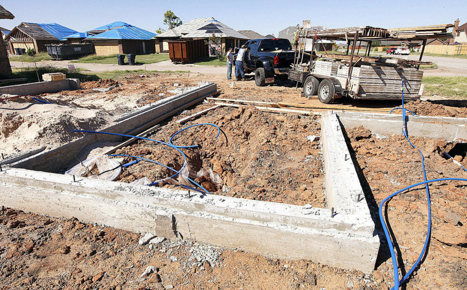Photo - This view shows the garage area where a storm cellar is going in the floor of a home being built by Marvin Haworth at 14500 Briarcliff Drive in south Oklahoma City's Westmoore addition.  PAUL B. SOUTHERLAND - The Oklahoman