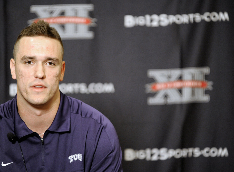 TCU quarterback Casey Pachall answers questions at NCAA college football Big 12 Media Days, Monday, July 23, 2012, in Dallas. (AP Photo/Matt Strasen)