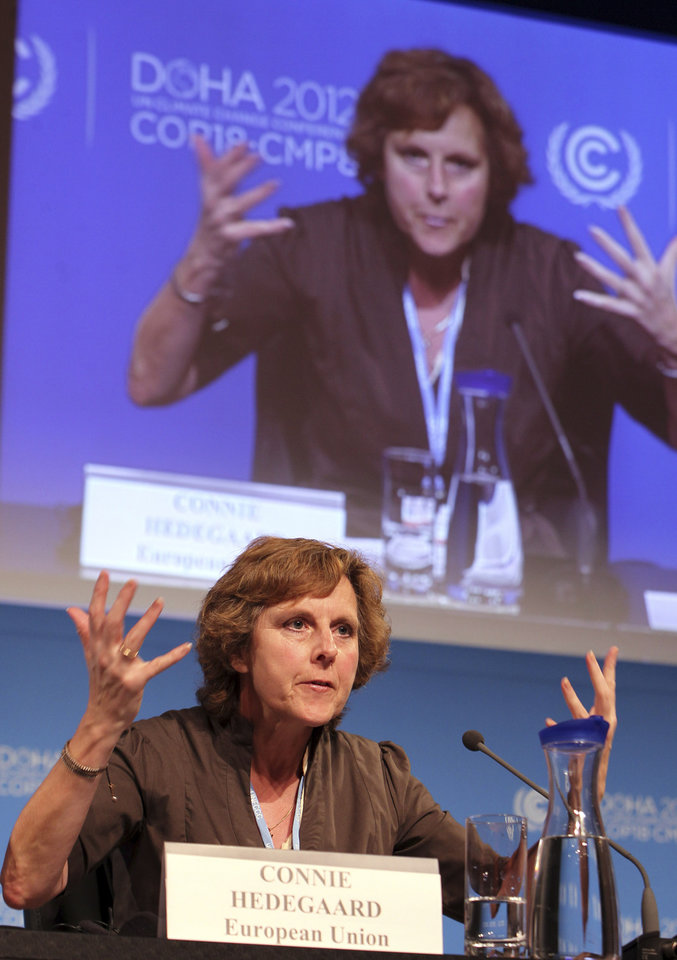 Photo - EU commissioner for Climate Action Connie Hedegaard speaks during a press conference in Doha, Qatar, Monday, Dec. 3, 2012. Highlighting a rift between the rich countries and emerging economies like China, New Zealand's climate minister staunchly defended his government's decision to drop out of the emissions pact for developed nations, saying it's an outdated and insufficient response to global warming. (AP Photo/Osama Faisal)