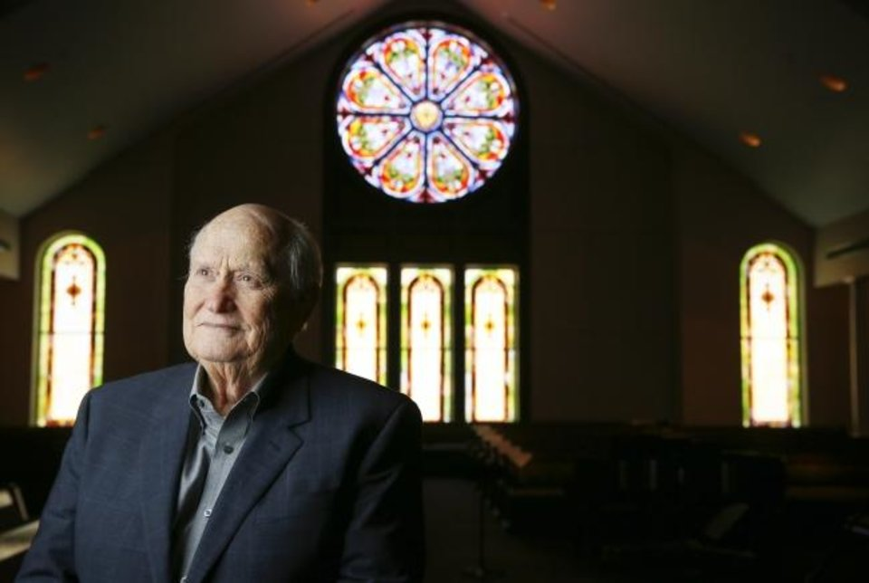 Photo -  Rev. Nick Harris poses for a picture in February 2020 in the sanctuary of First United Methodist Church of Oklahoma City, 131 NW 4, in Oklahoma City. [Oklahoma Archive]