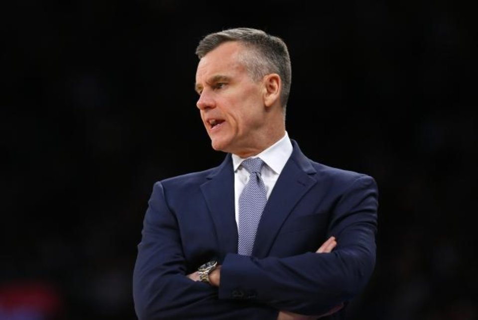 Photo -  Mar 6, 2020; New York, New York, USA;  Oklahoma City Thunder head coach Billy Donovan reacts during the second half against the New York Knicks at Madison Square Garden. Mandatory Credit: Noah K. Murray-USA TODAY Sports