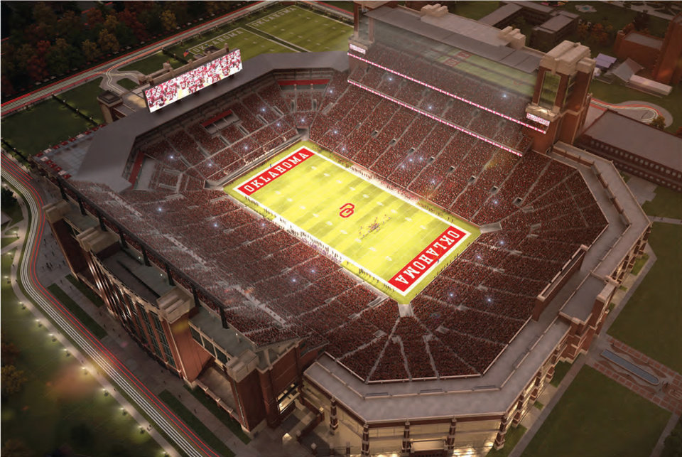 Artists rendering of the proposed upgrades to OU's Gaylord Family-Memorial Stadium. RENDERING COURTESY SOONERSPORTS.COM