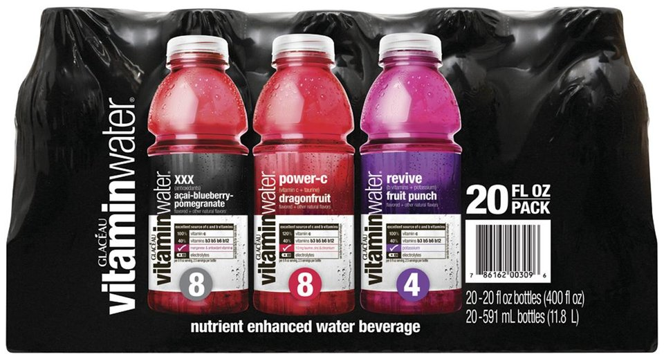 Photo - This product image provided by the Coca-Cola Co. shows a 20-pack of Vitaminwater drinks. Fans of Vitaminwater are demanding that parent company Coca-Cola drop a new formula that uses stevia, a low-calorie sweetener known for its metallic aftertaste. Coca-Cola Co. changed the formula for its full-calorie Vitaminwater in May, and the new bottles have been hitting shelves nationwide ever since. (AP Photo/Coca-Cola Co.)