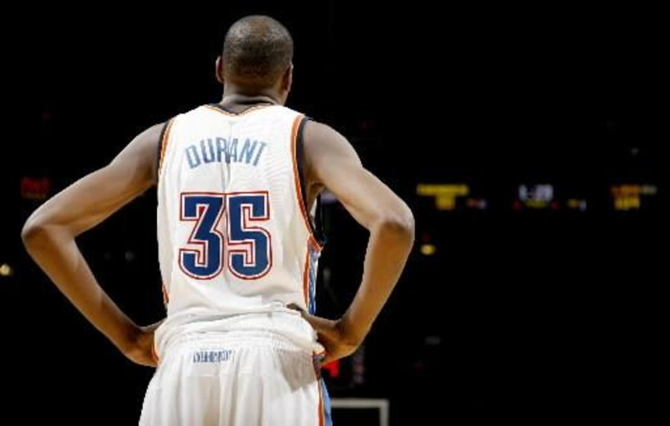 Oklahoma City's Kevin Durant is seen from behind in this Bryan Terry photo.