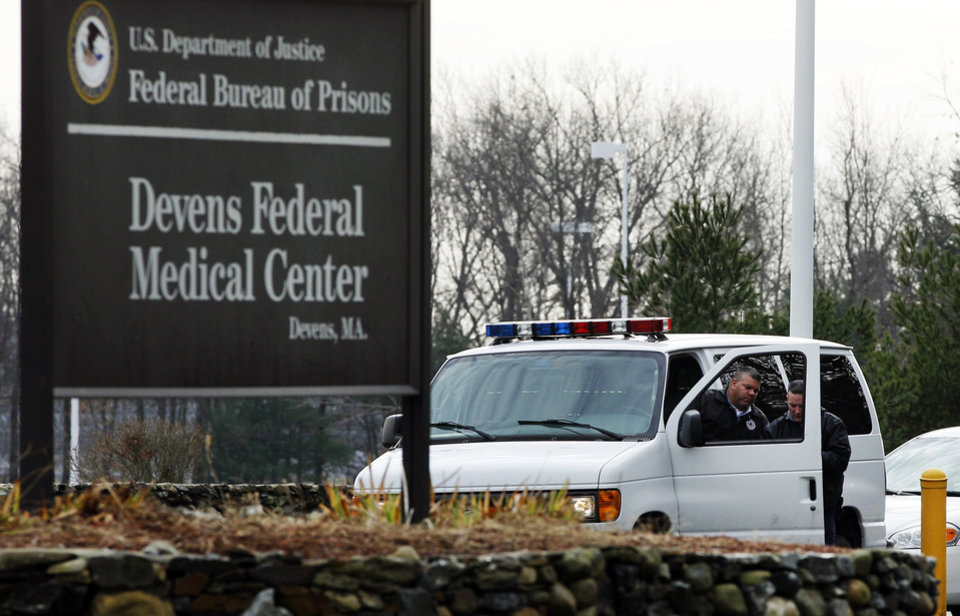 Photo - FILE - In this Dec. 5, 2011 file photo, two guards are stationed outside the Devens Federal Medical Center (FMC) in Devens, Mass.  The U.S. Marshals Service said Friday, April 26, 2013, that Dzhokhar Tsarnaev, charged in the Boston Marathon bombing April 15, 2013, had been moved from a Boston hospital to the federal medical center at Devens, about 40 miles west of the city.  (AP Photo/Elise Amendola, File)