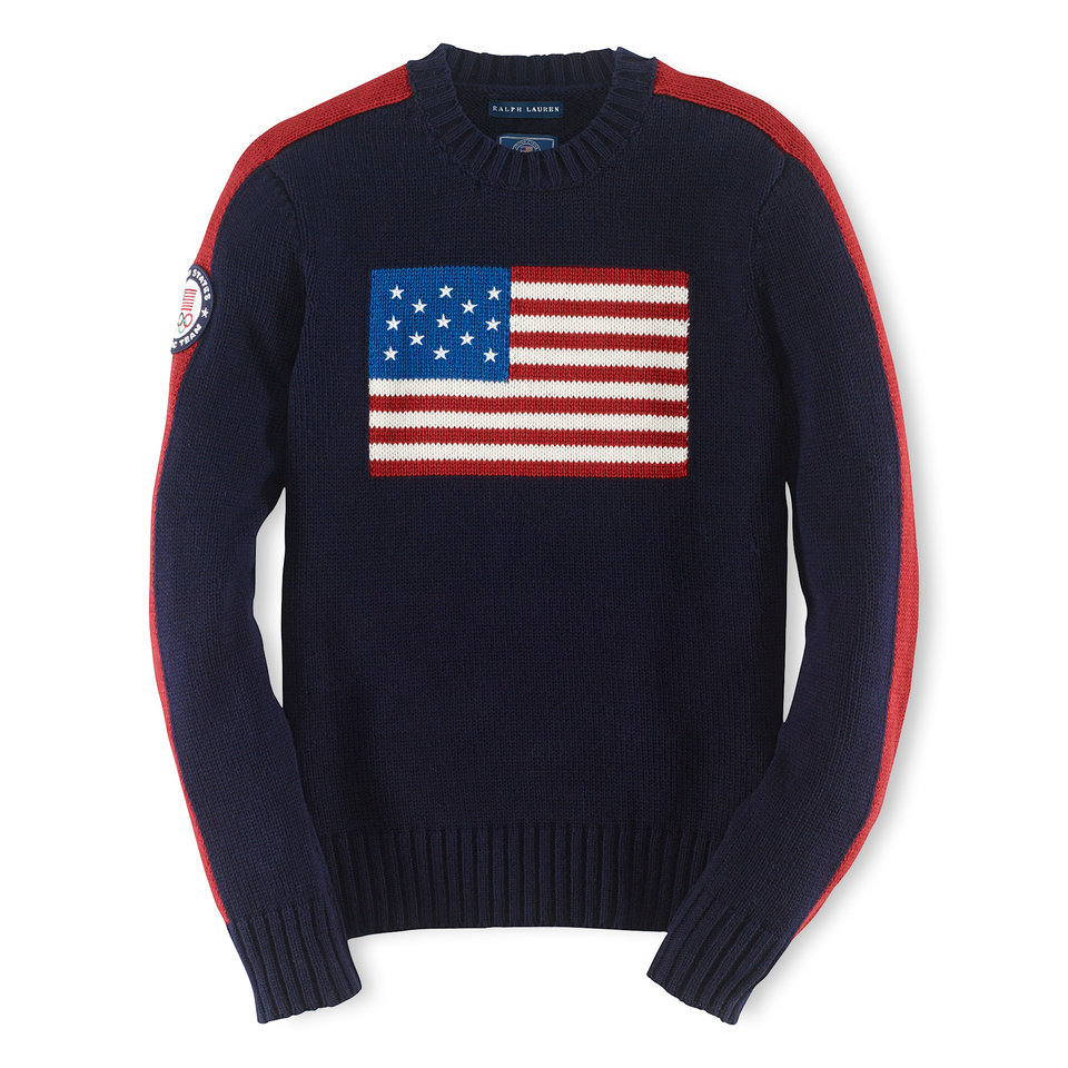 Photo - This product image provided by Ralph Lauren shows an American flag sweater, part of the official gear of the U.S. Olympic team. Every article of clothing made by Ralph Lauren for the U.S. Olympic athletes in Sochi, Russia, has been made by domestic craftsman and manufacturers. (AP Photo/Ralph Lauren)