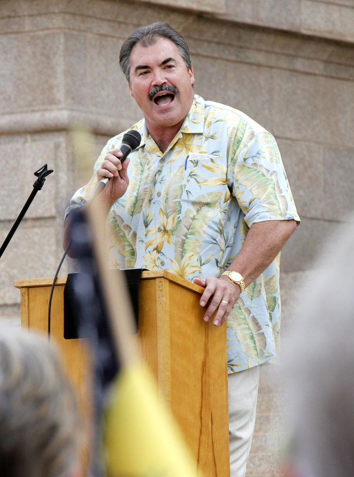 Rev. Paul Blair, of Fairview Baptist Church in Edmond, speaks at a healthcare rally on the south steps of the State Capitol building in Oklahoma City, OK, Saturday, July 7, 2012,  By Paul Hellstern, The Oklahoman